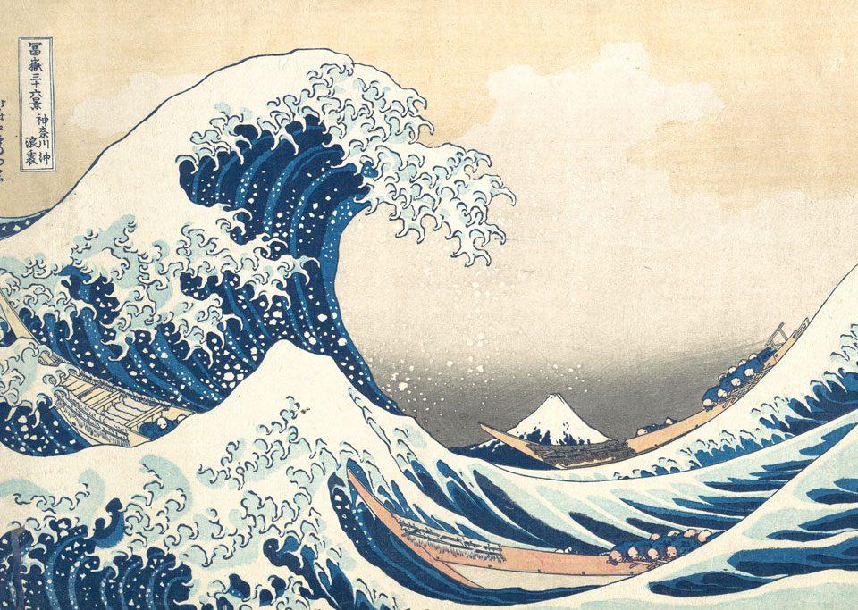 La gran ola de Kanagawa, xilografía del grabador japonés Hokusai